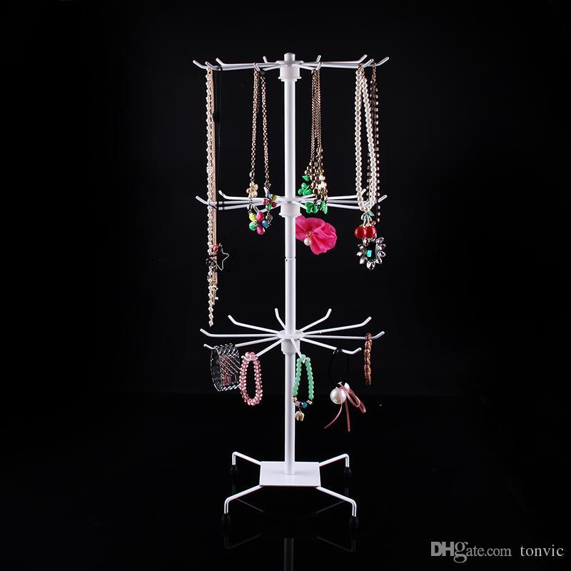 TONVIC White/Black Metal Rotating Handbag Chain Bracelet Necklace Holder Stand Rack For Jewelry Supermarket Display