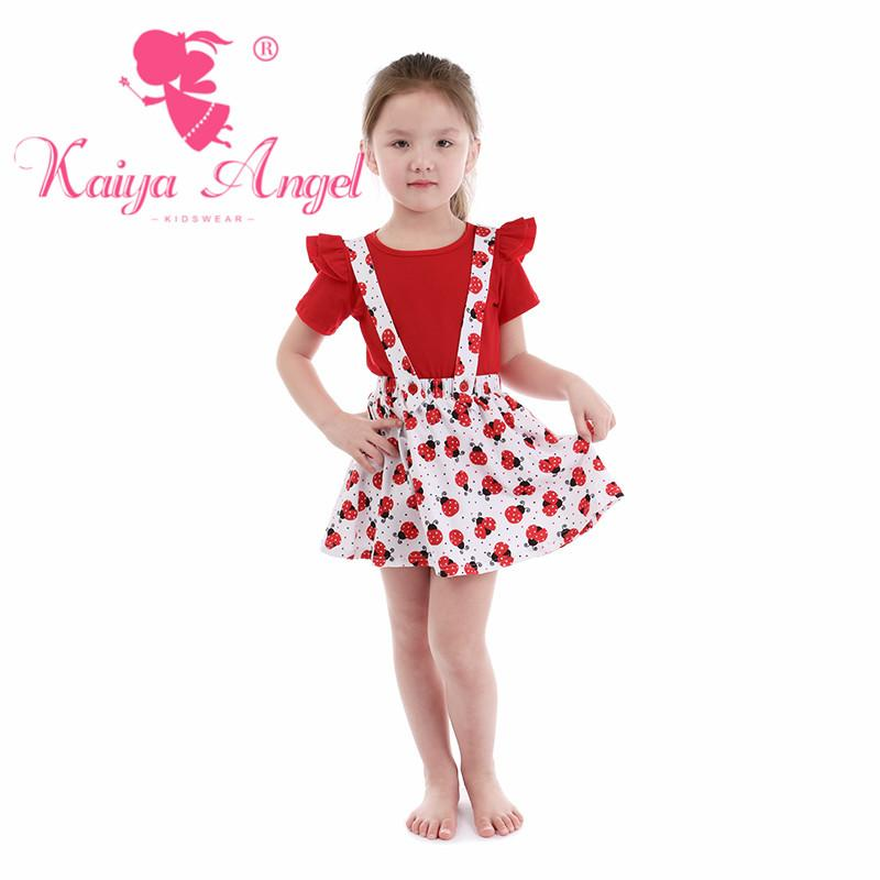 2019 Kaiya Angel Toddler Girls Summer Clothing Boutique Kids Red Cotton  Short Sleeve Top Overalls Dresses Suit Wholesale From Rainbowny 04df3f7cb59a