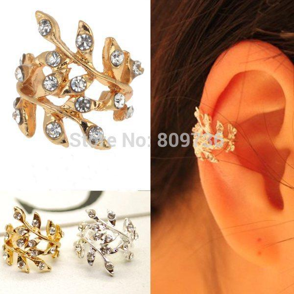 New Fashion Punk Chic Gold Tone Crystal Earring Leaf Ear Cuff Warp Clip Earrings for Women Jewelry Gift Drop Free