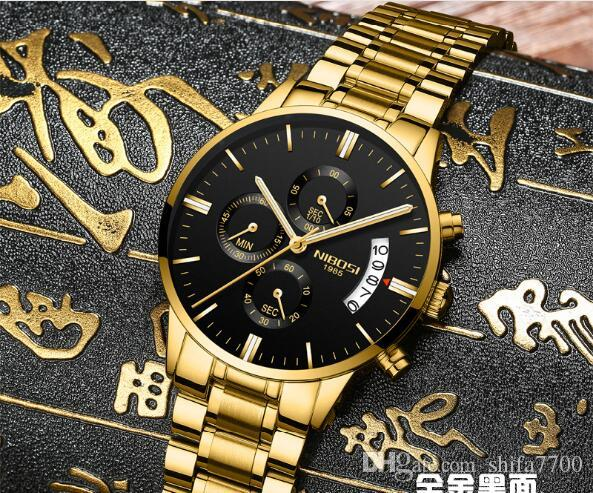Cinturino in acciaio solido cinturino in acciaio di alta qualità con cinturino in pelle impermeabile, orologio a tre occhi in quarzo a 6 aghi