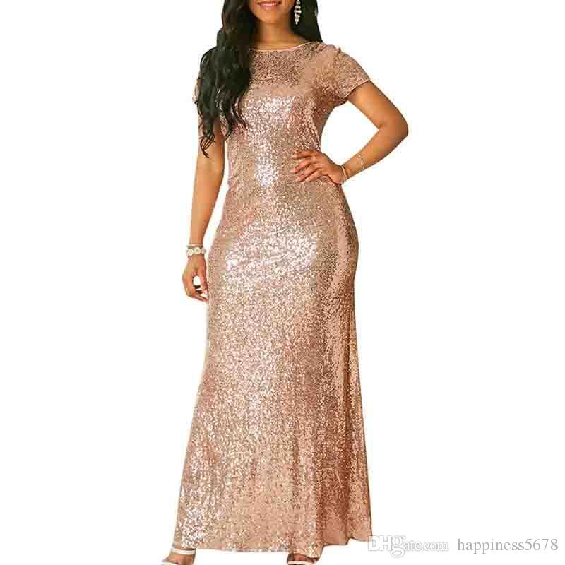 8a339836625 2018 Sexy Maxi Dress Evening Dresses Sequined Bling Short Sleeve Party Long  Dress Prom Gowns Bodycon Bandage Stitching Women Clothes Green Junior  Dresses ...