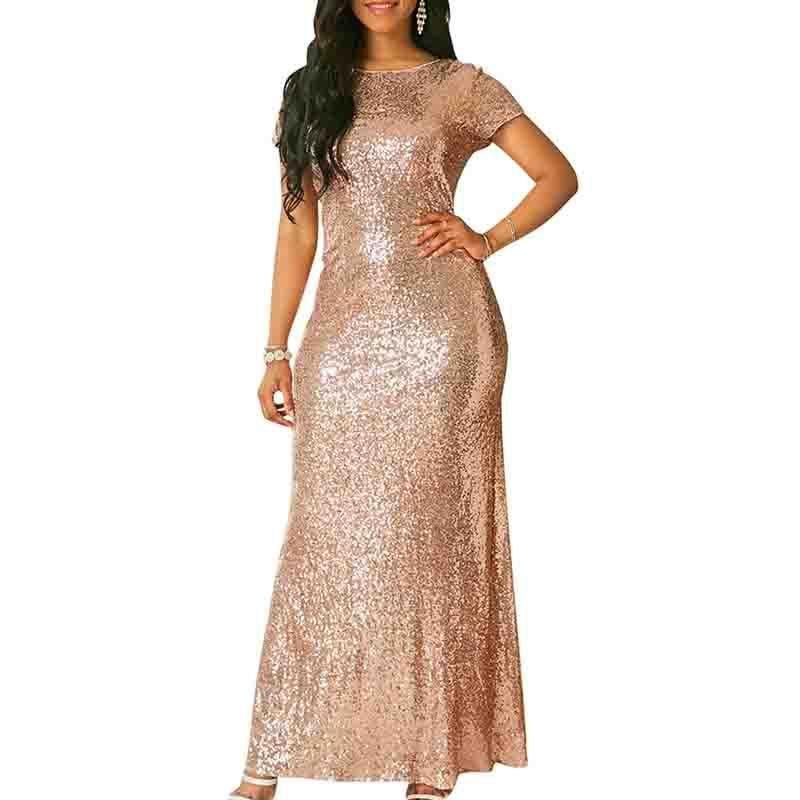 2018 Sexy Maxikleid Abendkleider Pailletten Bling Kurzarm Party langes Kleid  Prom Kleider bodycon Bandage Nähte Frauen Kleidung c7d50b8ff5