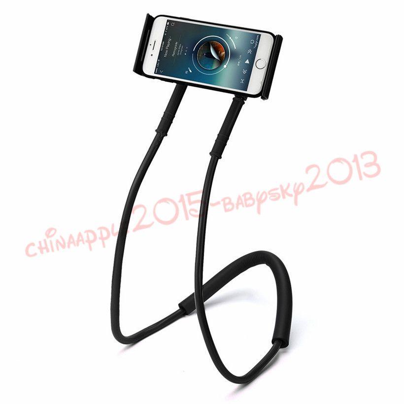 60cm long arm Hand free smart phone holder Neck hong handfree Cellphone Mounts Selfie Stick lazy man phone Stand tool