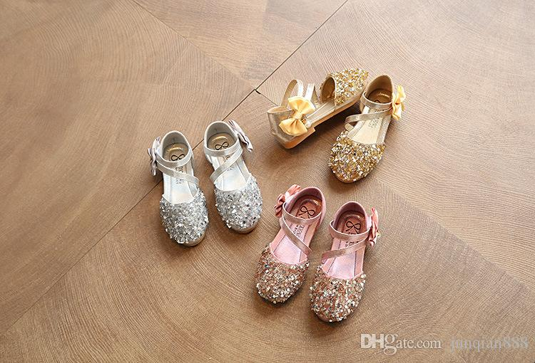 fc3cd168d 2018 Children Princess Glitter Sandals Kids Girls Soft Shoes Square Low  Heeled Dress Party Shoes Pink /Silver/Gold EUR21 36 JP323 Discount Children  Shoes ...