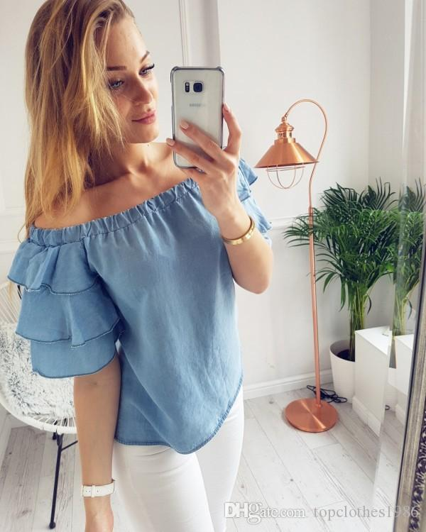 Top Quality Moda Feminina Blusa T-shirt das Mulheres estilo Quente Fora do ombro Pétalas manga Moda T-shirt blusa S-XL 4 cores