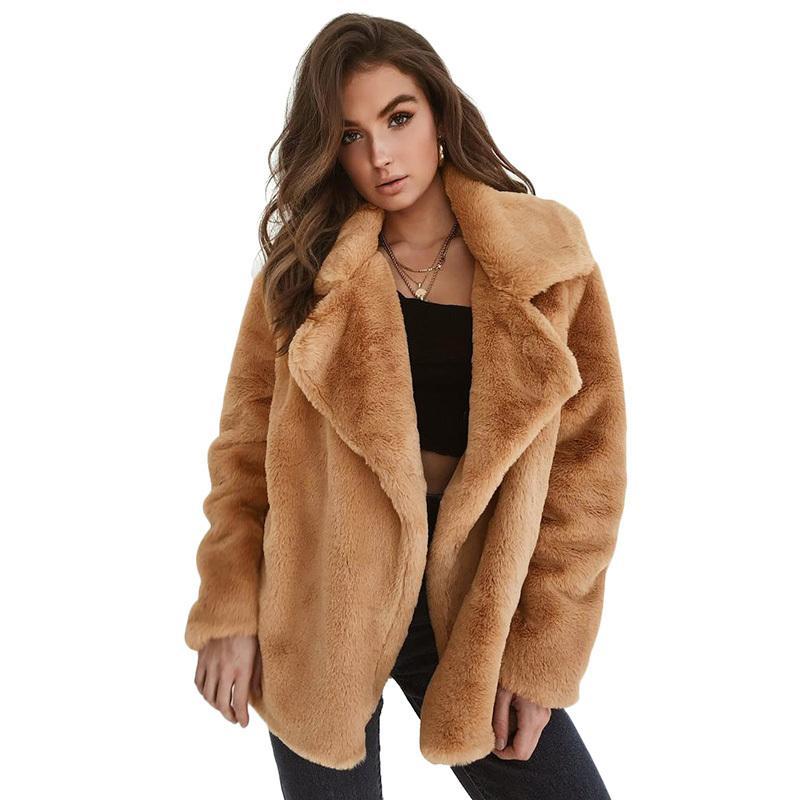 68bd5518742d Fashion Women Fleece Faux Fur Jacket Coat Solid Color Turn Down Collar Long  Sleeve Open Front Autumn Winter Streetwear Outerwear White Jacket Denim  Jackets ...