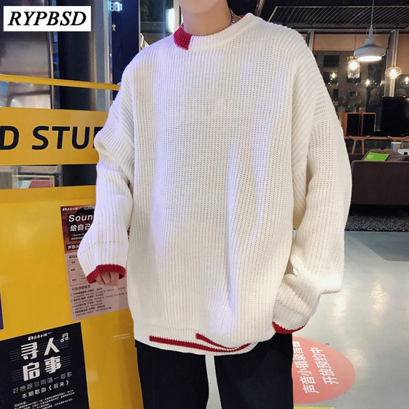 Compre Otoño Invierno 2019 Nuevo Color Sólido Moda Coreana Casual Loose Men  Sweater Streetwear Hombres De Cuello Redondo De Punto Suéter A  58.88 Del  ... eaac82e407f3
