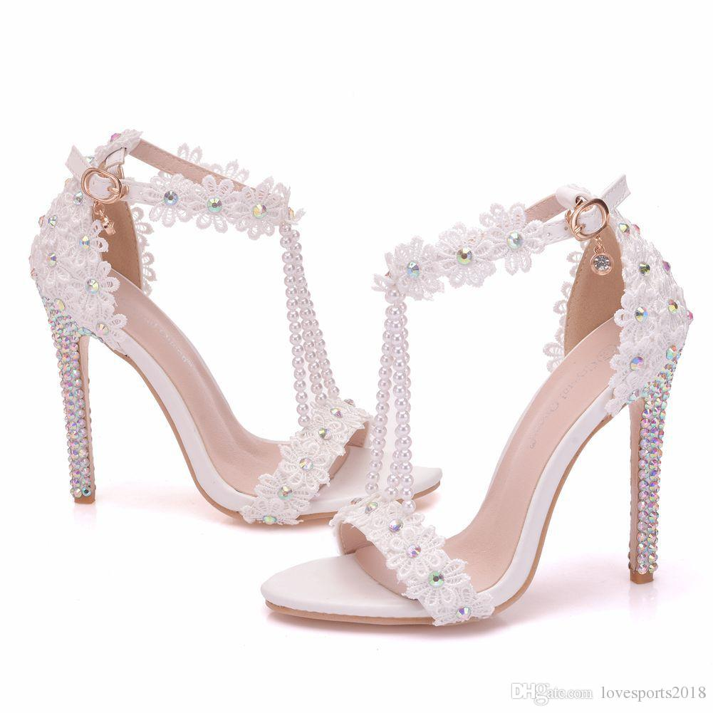 232cd8a25bc3 New White Beading Open Toe Shoes For Women Crystal High Heels Fashion Stiletto  Heel Wedding Shoes Lace Flower Ankle Strip Bridal Sandals Heels Gladiator  ...
