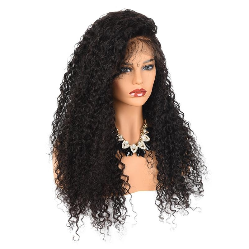 Afro Kinky Curly Lace Front Human Hair Wigs-Glueless 150% Density Brazilian Virgin Remy Wigs Full Lace with Baby Hair 20inch Natural Color