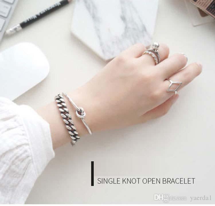 kendra scott of S925 sterling silver designer braceletr antique craft single knot knot bangle bracelet gold chain necklace jewelry silicone