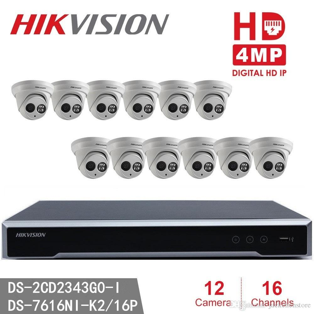 Hikvision Video Surveillance NVR IP Camera 4MP WDR EXIR Turret Network  Camera hikvision DS-2CD2343G0-I PoE 1080p HD Cam CCTV Security