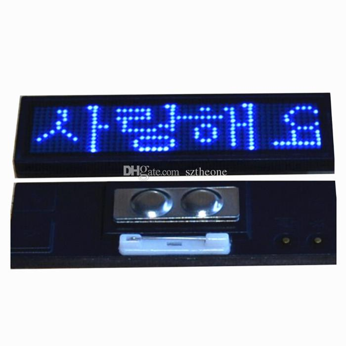 Blue 12*48 Led Badge Rechargeable Scrolling Price Name Tag Business ...