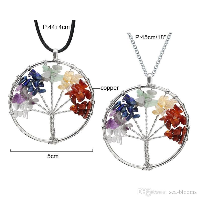 Natural Crushed Stone Handmade Necklace Crystal Quartz Tree of Life Pendant Necklace 7 Chakras Gemstone Charms Mothers Day Gifts H110S