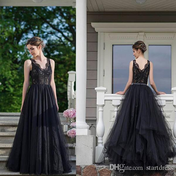 edc832124faa Discount Summer Country Outdoor Black Gothic Wedding Dresses 2018 V Neck  Top Lace Wedding Dress Aline Cheap Bridal Gown Open Back Sexy Second Hand  Wedding ...