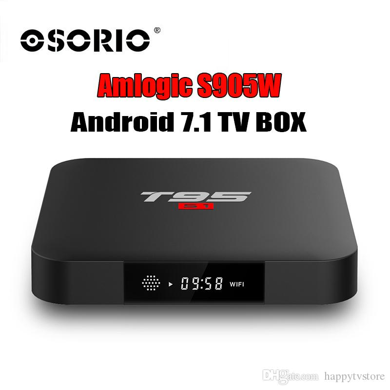 New T95 S1 Smart TV BOX Android 7 1 Set Top Box with Amlogic S905W H 265 4K  HD WIFI Android TV Receiver pk h96 x96 media player