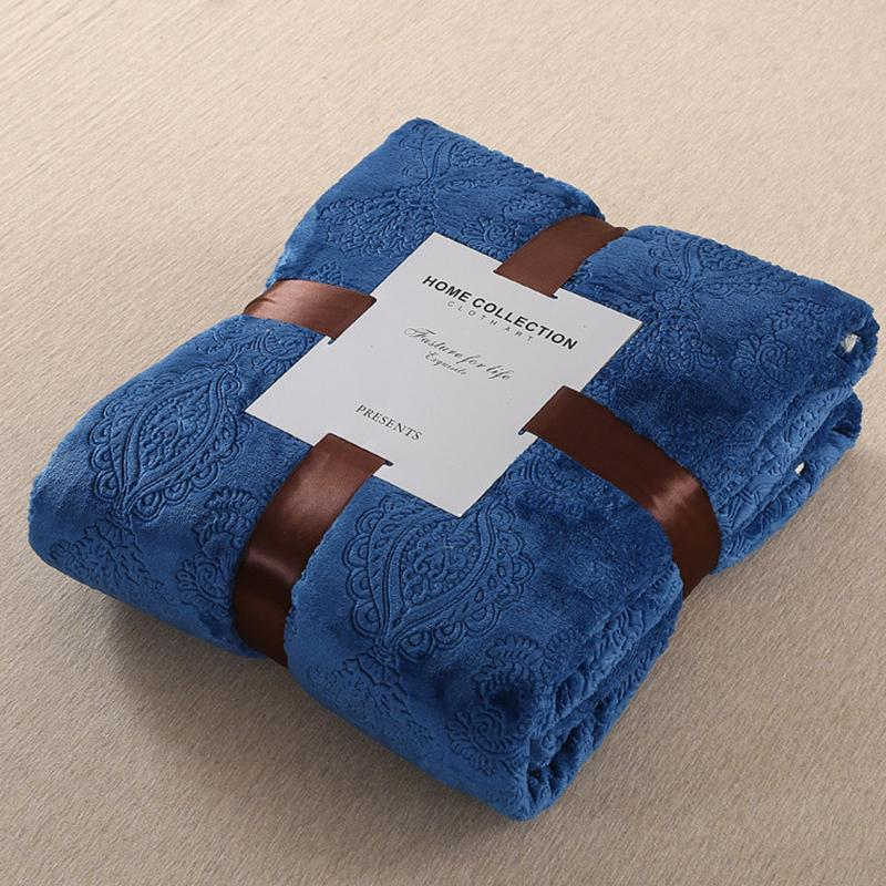 d7d2830dae49 Royal Blue Embossed Fleece Blanket Winter Warm Blankets For Beds Super Soft  Sofa Throw Blanket Twin Full Queen Bed Bedspread Monogrammed Baby Blankets  ...