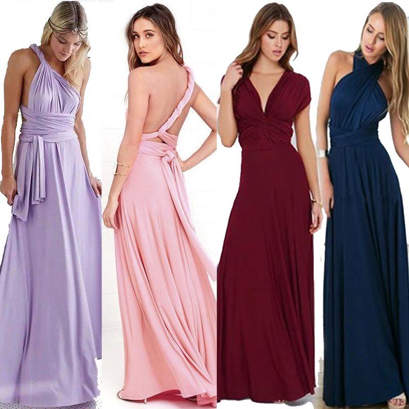 Compre 2018 Mujeres Maxi Dress Elástico Casual Summer Long Dresses ...