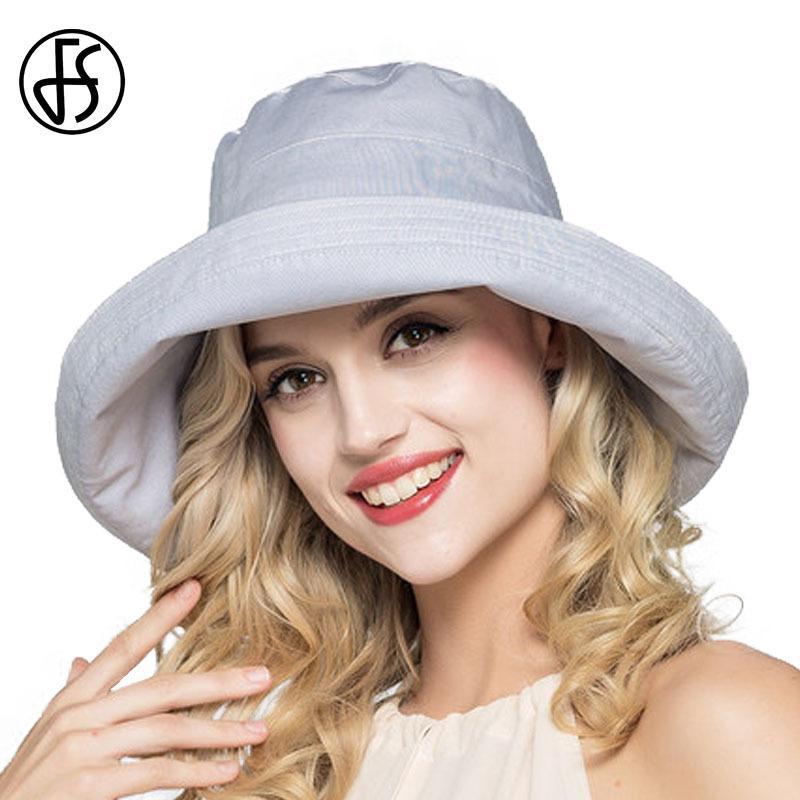 f93628e0455 FS Summer Womens Cotton Wide Brim Sun Hats Foldable Casual Viseira Feminina  Fashion Sun Visor Caps Bucket Hat Chapeu Feminino D18103006 Online with ...