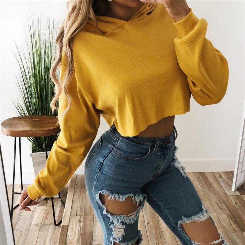 d1c06044582b8 Plus Size Cropped Hoodies Women Autumn Casual Crop Top Sweatshirt Hooded  Solid Pullover Tops Coat Sudaderas Mujer Online with  30.5 Piece on  Modeng02 s ...