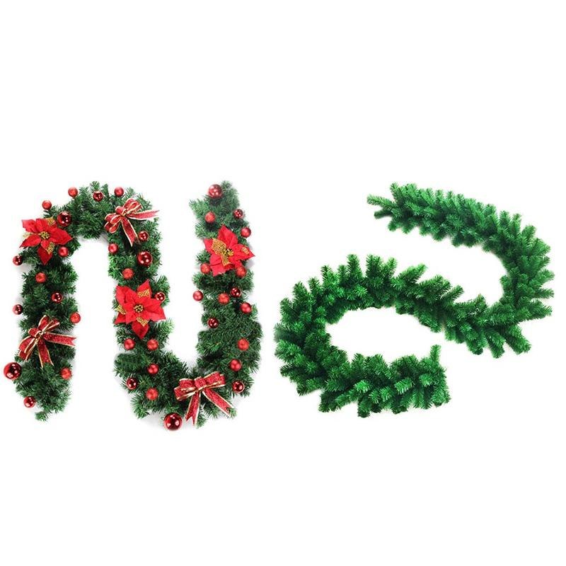 new green christmas garland wreath xmas home party christmas decoration pine tree rattan hanging ornaments decorating christmas ornaments decorating for - Green Christmas Garland