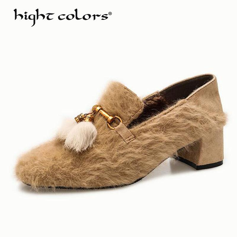 c2c4d702b99 Autumn Winter 2018 Womens Slip On Wool Pumps Shoes Loafers Block Heel Shoes  Square Toe Size Khaki Black Mens Chelsea Boots Pink Shoes From Baby107