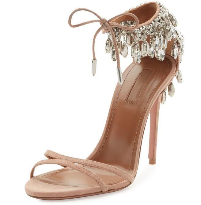 19a2e0963576 2018 New Fashion Wedding Shoes Silver Rhinestone High Heels Women s ...
