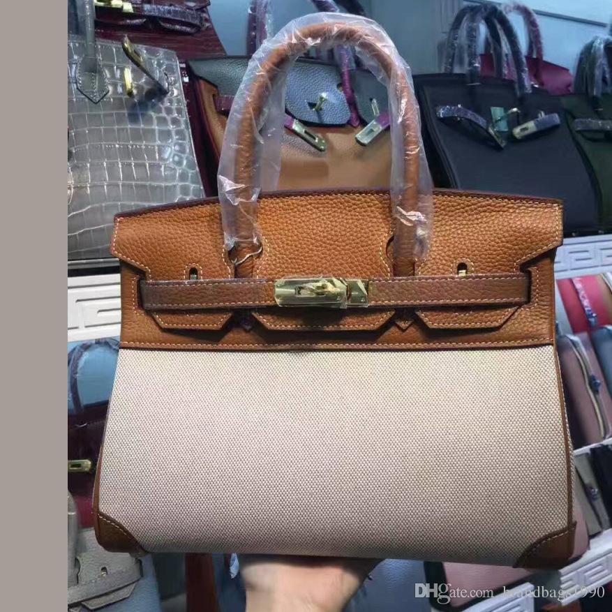 2018 25CM 30CM Big Brand Designer bicolore Totes borse di lusso delle donne del cuoio genuino borse a tracolla di tela Moda borsa della signora Immagine reale