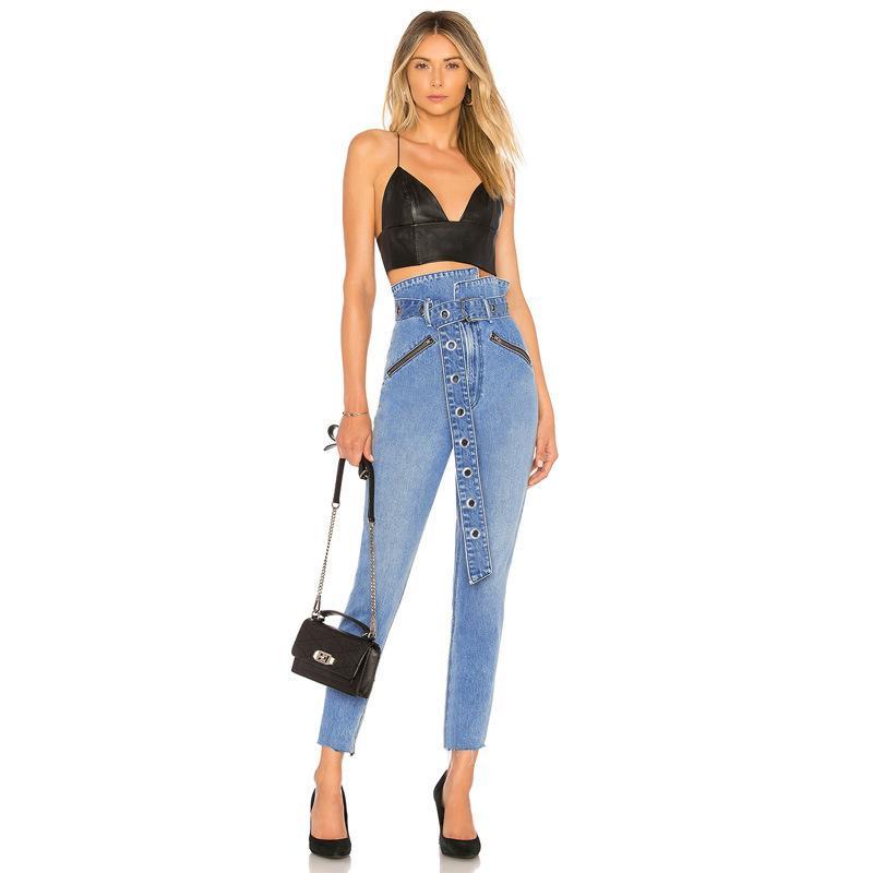 811cf6acc232 YSMARKET High Waist Denim Pants Women Leggings Fly Zip Pocket Pencil ...