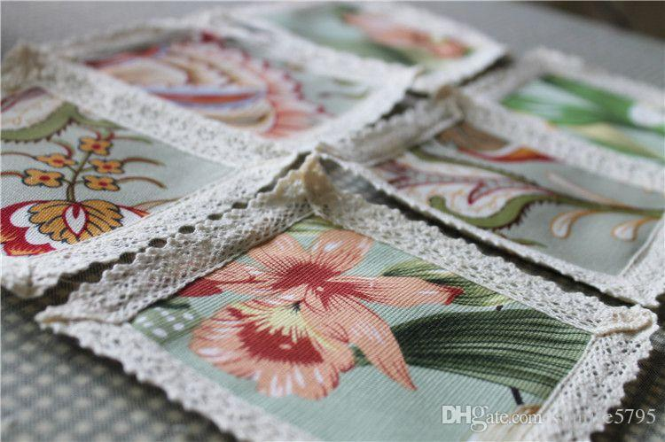 canvas fabric table placemat flower print coaster lace edge home kitchen dining accessories square drink coasters cup mat