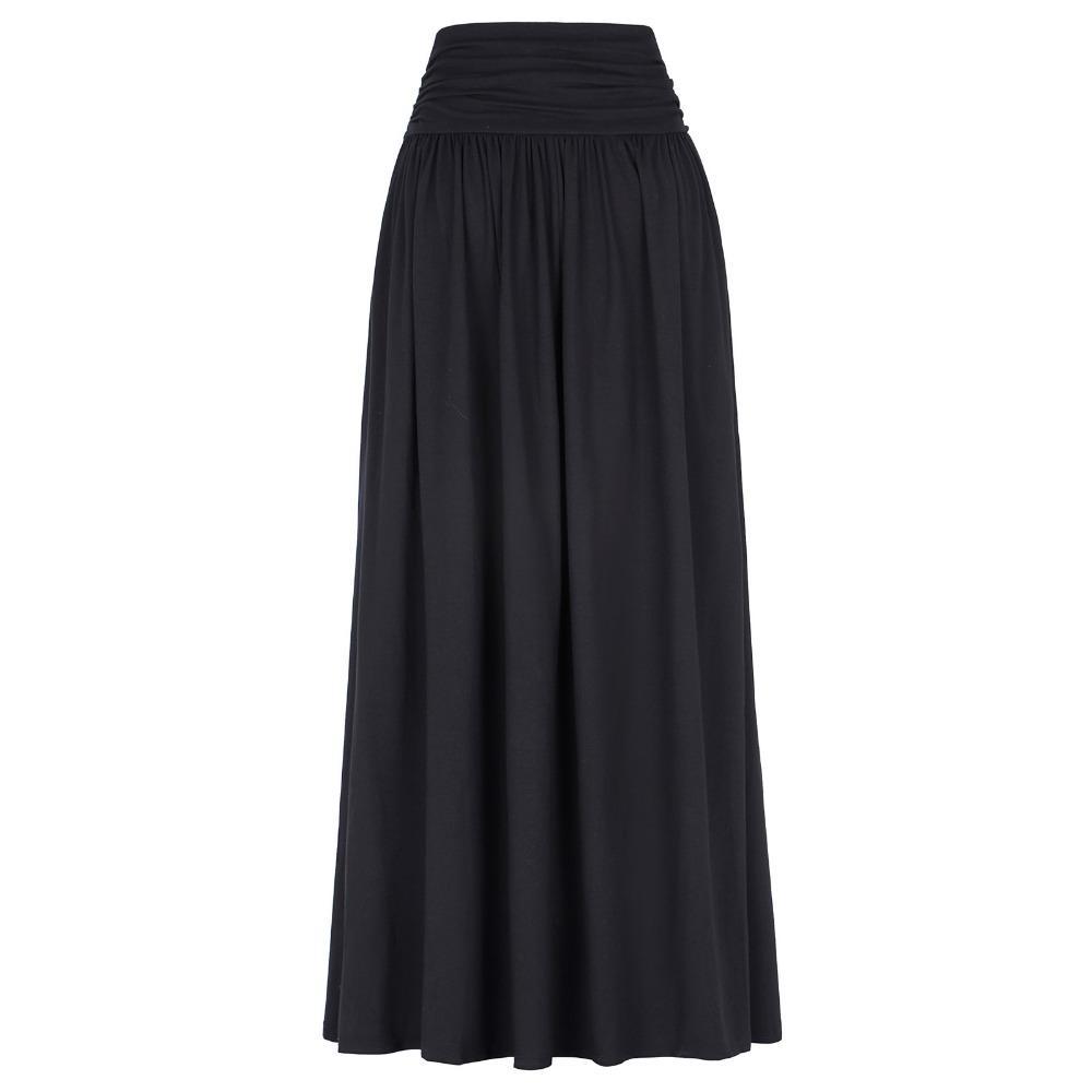 7d9aa68c2 Al por mayor-moda de algodón faldas largas para mujer piso longitud plisada  otoño Maxi falda de cintura alta Stretch Casual tamaño grande señoras ...