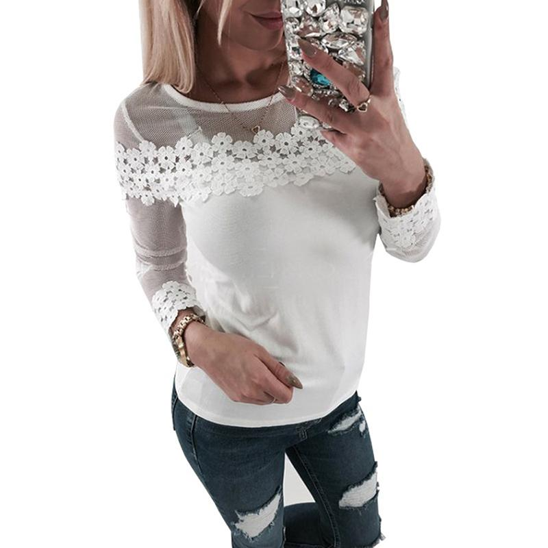 f3ba9db111054 Summer T Shirt Long Sleeve Mesh Lace Patchwork Women Casual Lady Top Tees  White T Shirt Female Brand Clothing Top Tee Plus Size Ridiculous T Shirt  Best T ...