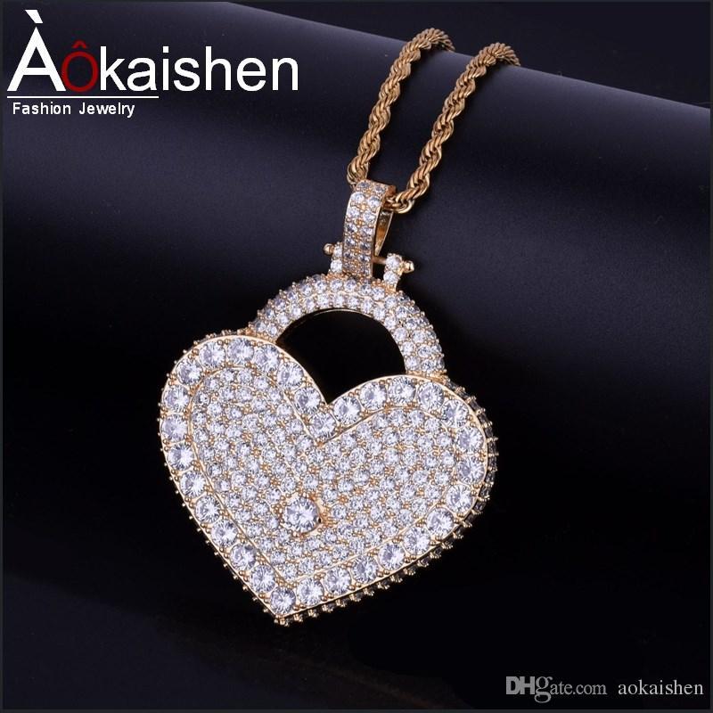 Hot Seller Men s Hip Hop Jewelry Heart Love Lock Cubic Zircon ... d211f6ad0