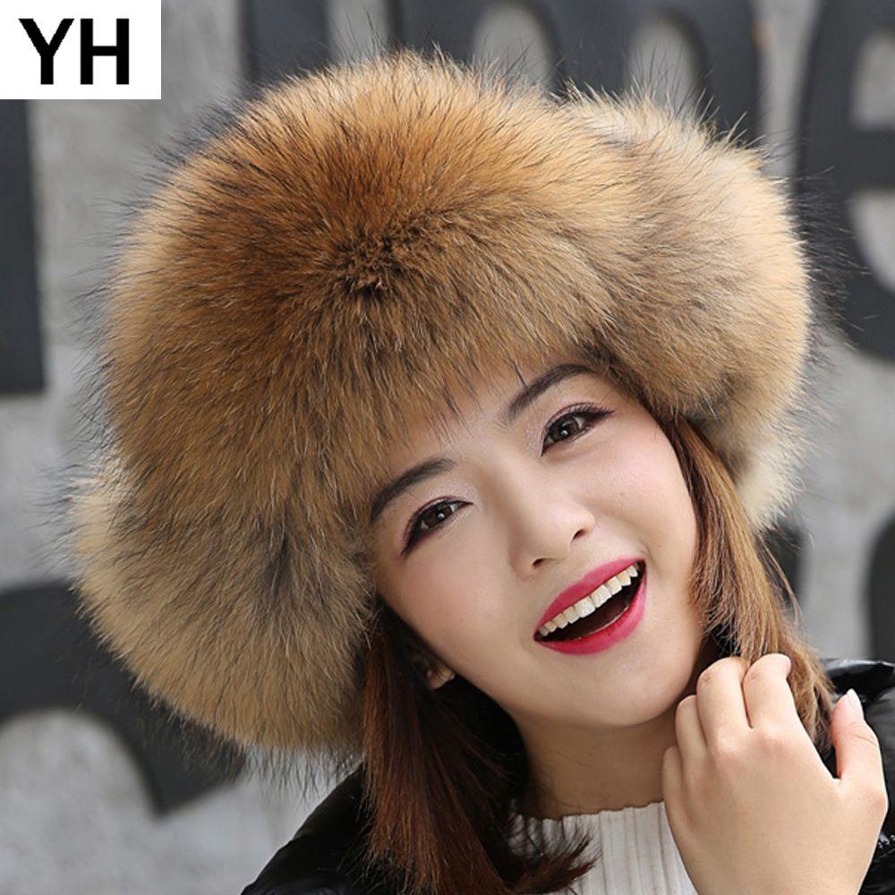 1e0e5b7117901 2019 2018 Hot Women Lovely Real Fox Fur Hats Natural Raccoon Fox Fur  Russian Ushanka Cap Winter Quality Thick Warm Bomber Hat From Spectalin