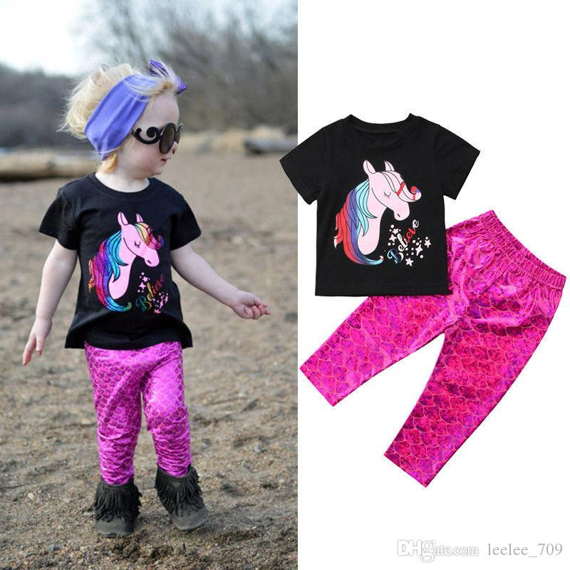 9e3abee380a3c 2018 INS New Fashion Baby Girls Kids Summer 2piece Sets Unicorn Shirt Tops  + Mermaid Pants Legging 2piece Set Summer Outfits Baby Suits