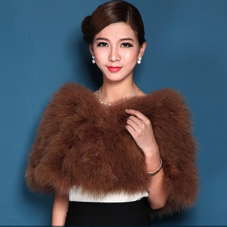 Ostrich feather cape fur the bride wedding dress shawl winter coat authentic gown conference with a tank top