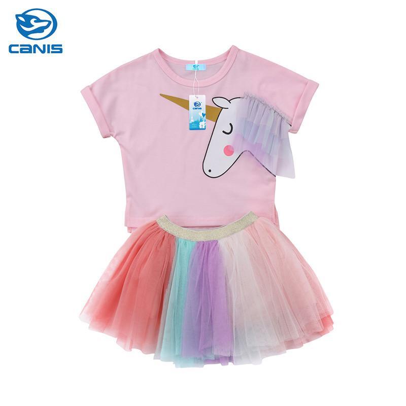 Garoto Meninas Roupas Definir Unicórnio Criança Crianças Roupas de Bebê Meninas Roupas de Manga Curta T-Shirt Top + Saia Tutu Outfits