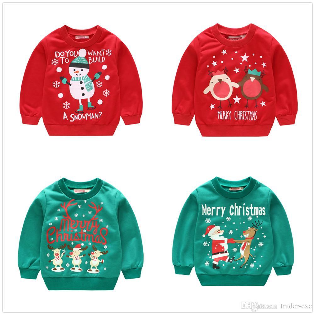 Großhandel Weihnachten Kinder Kleidung Jungen Sweatshirts Schneemann ...
