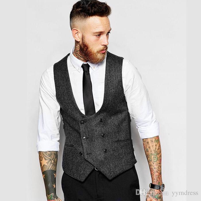 2019 Vintage Brown Tweed Wedding Groom Vests Wool Herringbone