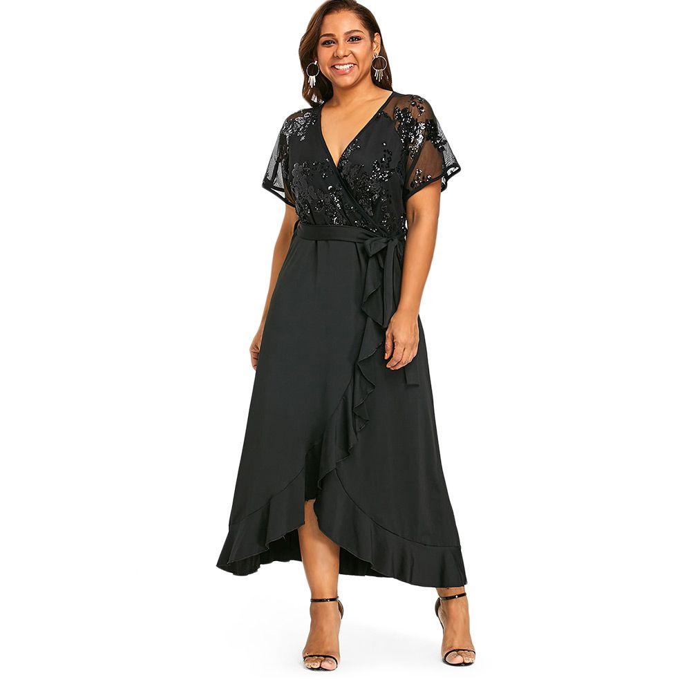 Wipalo Sequins Belted Plus Size Maxi Dress Women Summer Dress Short Sleeve  Elegant Vestidos V-Neck Long