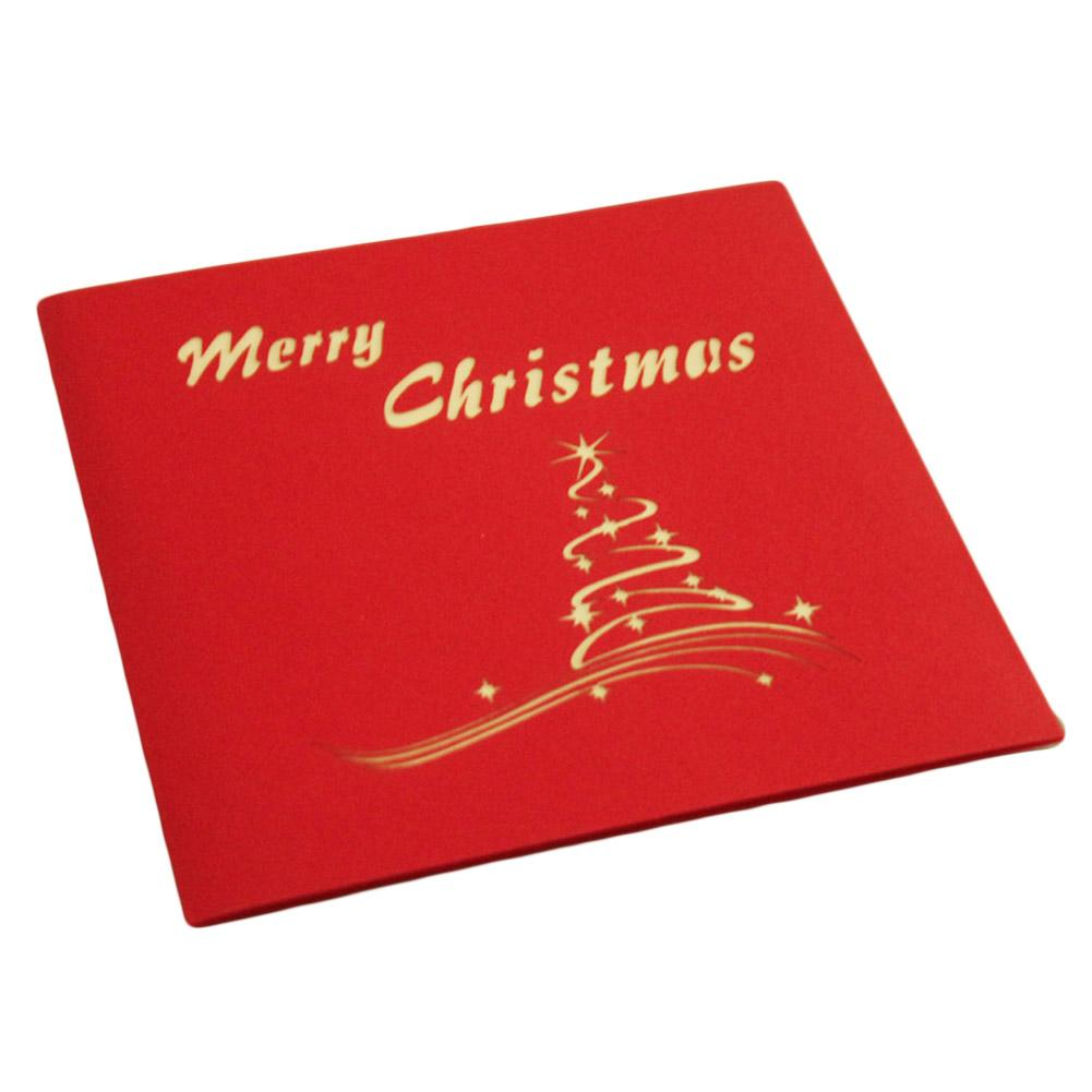 New Merry Christmas Tree Vintage 3d Laser Cut Pop Up Paper Handmade Custom Greeting Cards Christmas Gifts Souvenirs Postcards