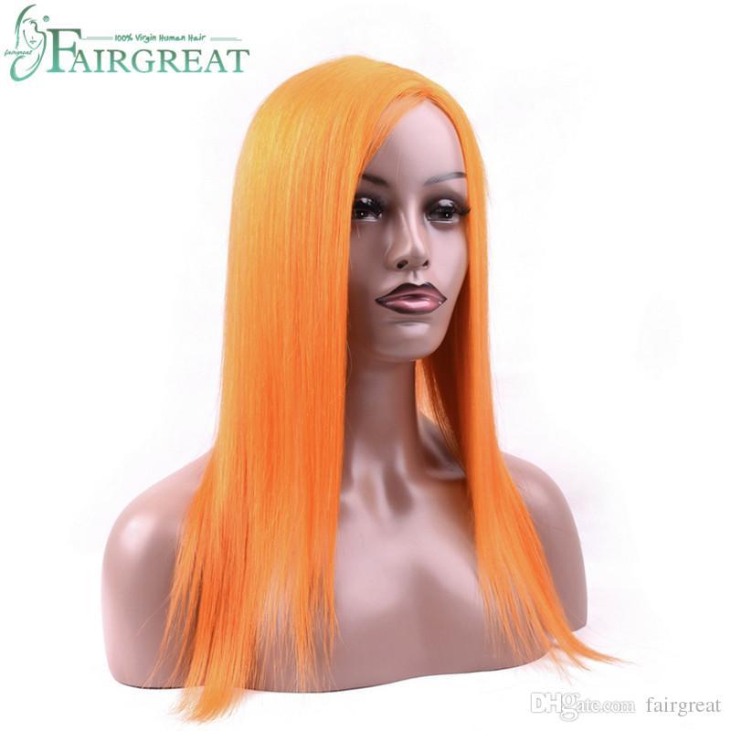 Perruque de cheveux de couleur orange 14-