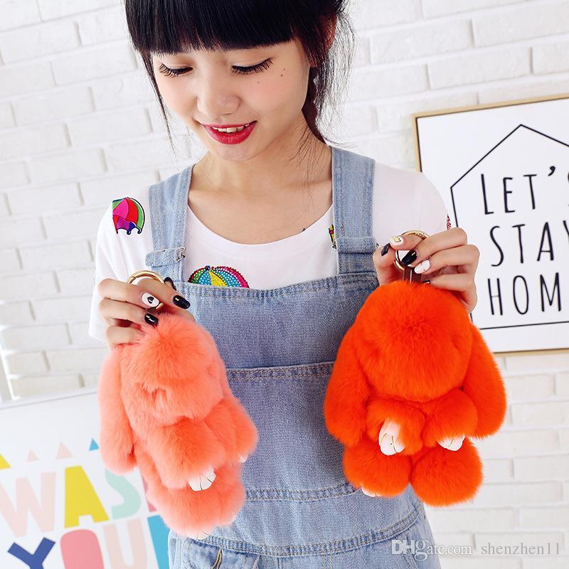 Cute rabbit toy Cute Bunny Keychains 14cm Fluffy Pompom Fur Rabbit Keychain Llaveros Mujer Car Bag Pendants OTH238