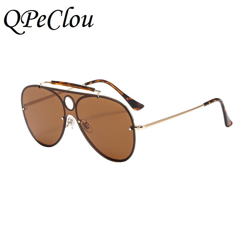 4ac4b1d9002 QPeClou Oversized Vintage Sunglasses Women Men Double Bridge Pilot Mirror  Sun Glasses Unisex Metal Frame Oculos UV400 Eyeglasses Sunglasses Hut From  ...