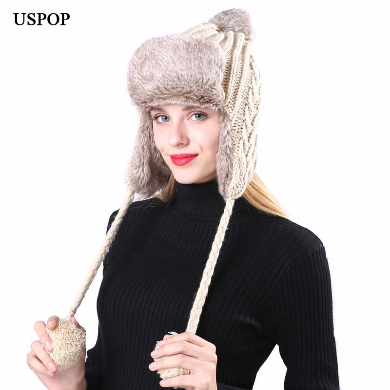 0782988f922 USPOP 2018 New Fashion Women Bomber Hats Warm Thick Velvet Twist 3 Pompoms  Knit Hats Winter Outdoor Windproof Snow Bomber Hats Cheap Bomber Hats USPOP  2018 ...
