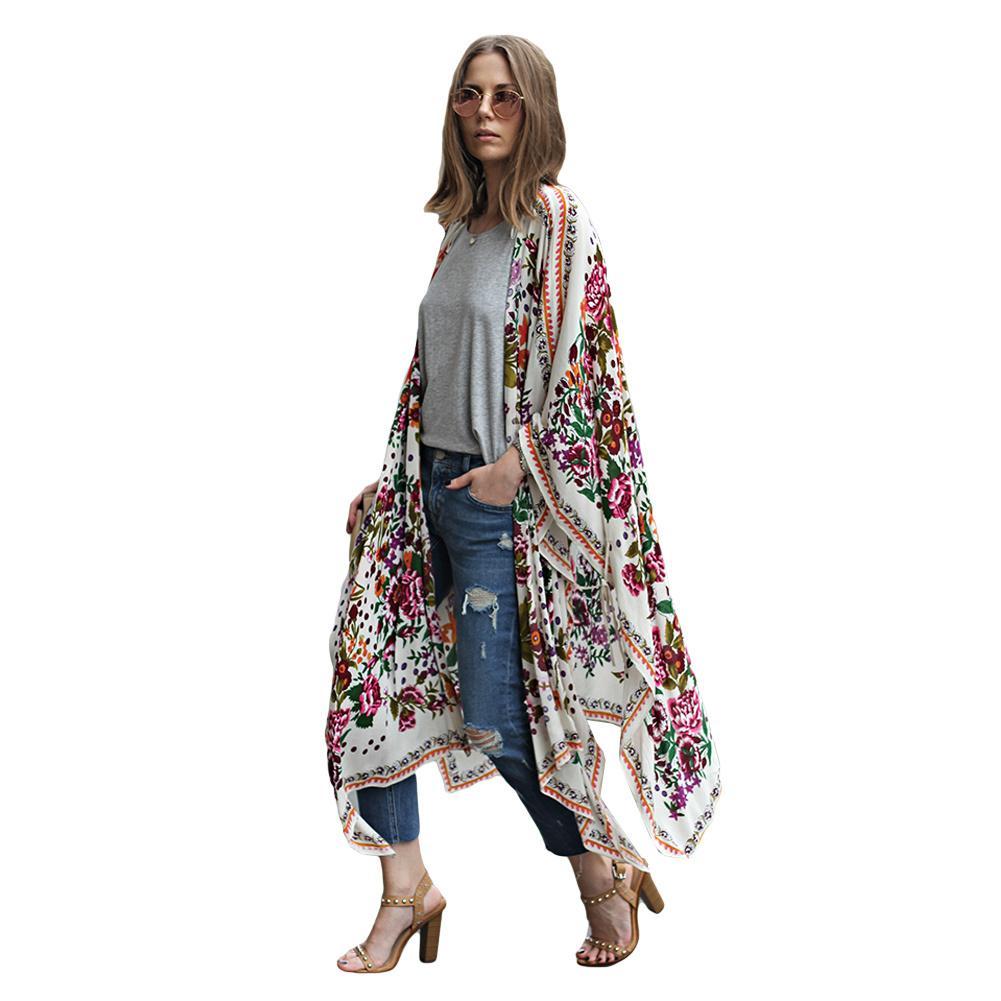 3b3c24fc4b Women Vintage Praia Chiffon Kimono Cardigan Floral Print Asymmetric Beach  Pareo Boho Loose Outerwear Beachwear Bikini Cover Up Online with  $39.41/Piece on ...