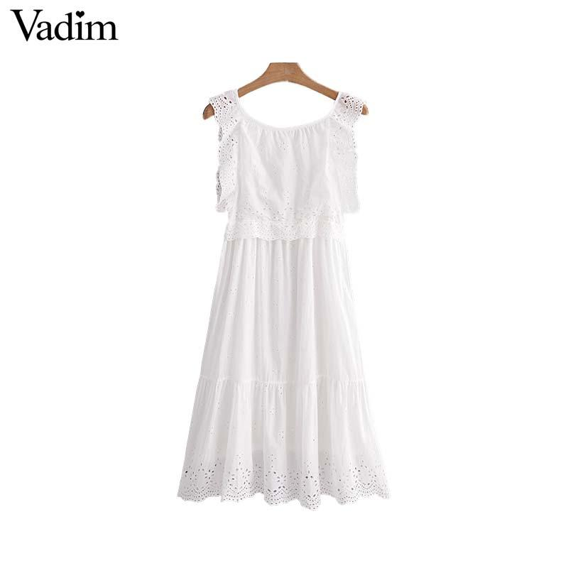 bbcb00ff0b70 Vadim Women Sweet Ruffled Embroidery Dress Hollow Out Eyelet O Neck Pleated  Female Casual White Midi Dresses Vestidos QA340 White Floral Sundress Green  ...