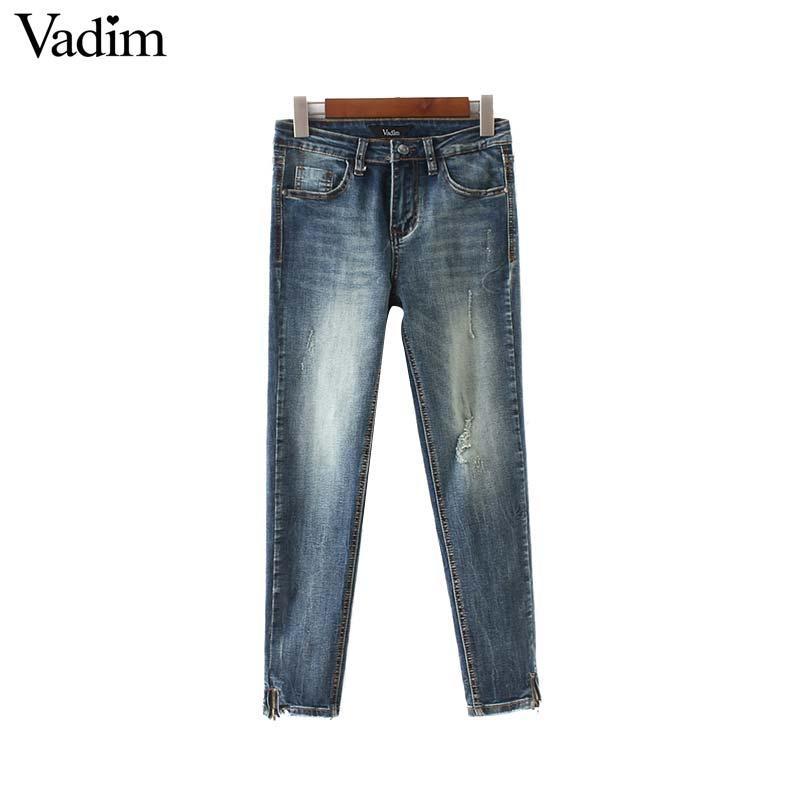 862f6c84cb 2019 Vadim Women Vintage Holes Denim Jeans Pockets Zipper Fly Design Ankle  Length Pants Retro Ladies Casual Chic Trousers KA273 From Bida Josh, ...