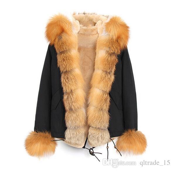 Vente chaude Jazzevar renard gris et lapin doublé mini parka bleu Parka chaud avec garniture de fourrure de renard