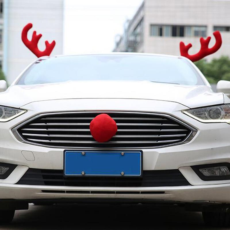 Merry Christmas Auto Car Decoration Gift Creative Antlers Car