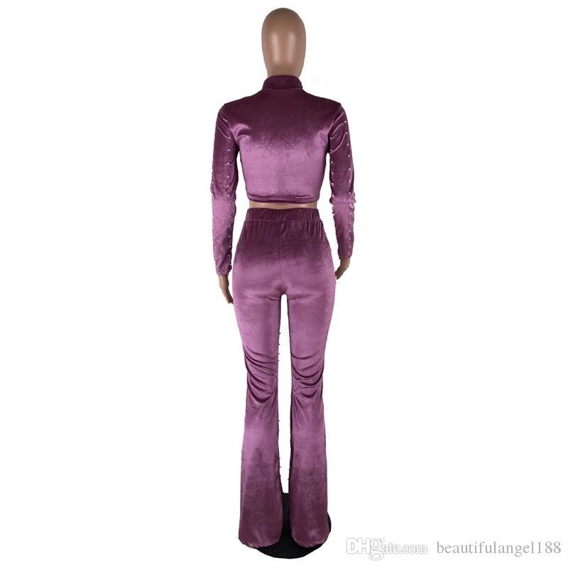 Beading Embellished Corduroy Sexy Set Women Full Sleeve Turtleneck Short Top And Vintage Clubwear Long Flare Pant